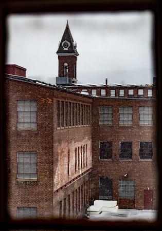 Clock tower from Building 6 at Mass MoCA, North Adams, MA. #2.