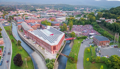 Aerial drone images during the FreshGrass Festival 2017 at Mass MoCA in North Adams, MA.