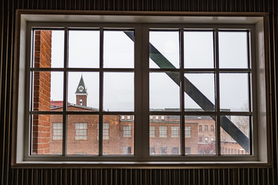 Clock tower from Building 6 at Mass MoCA, North Adams, MA.